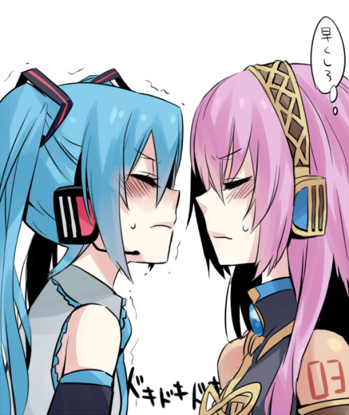 2girls aqua hair blush closed eyes hatsune miku incipient kiss megurine luka miz 01 multiple girls nervous pink hair simple background sweatdrop trembling twintails vocaloid yuri