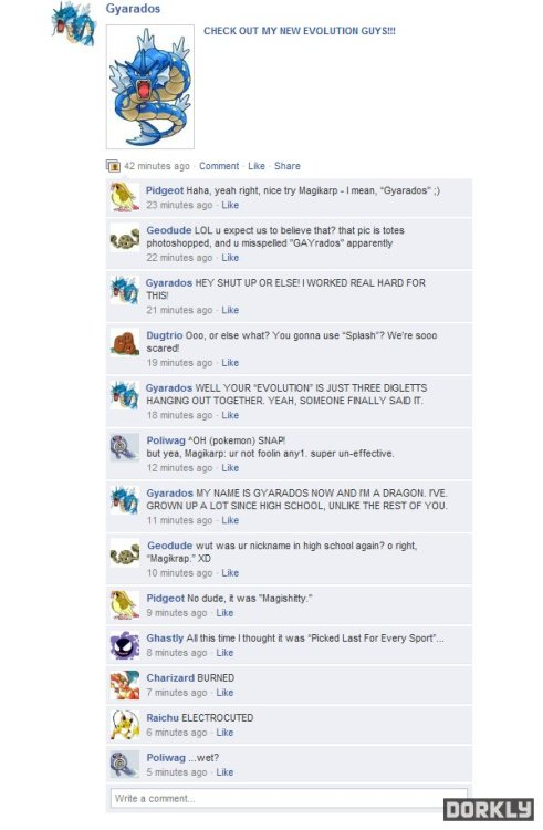 fuckyeahpokememe:  Click through for more funny Pokemon Facebook updates!
