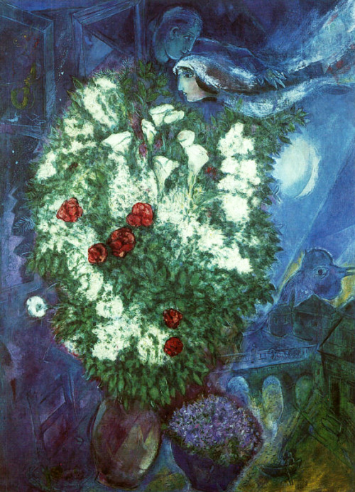 """Flying Lovers"" by Marc Chagall  Sometimes rain that's needed falls We float like two lovers in a painting by Chagall All around is sky and blue town Holding these flowers for a wedding gown We live so high above the ground, satellites surround us. I am humbled in this city There seems to be an endless sea of people like us Wakeful dreamers, I pass them on the sunlit streets In our rooms filled with laughter We make hope from every small disaster"
