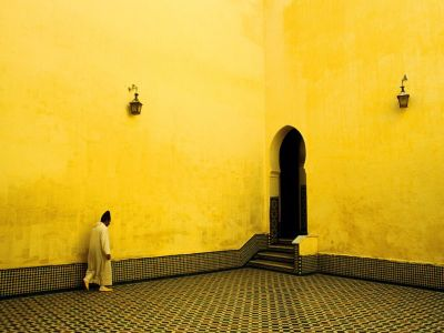 Photograph by Bjoern Obst | A beautiful room of yellow in the shrine of Moulay Ismail, Meknes, Morocco.