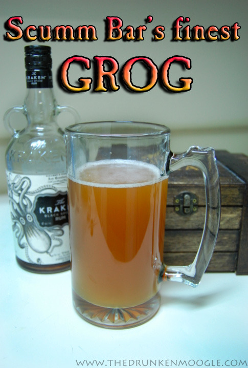 "Scumm Bar's Finest Grog (The Secret of Monkey Island Cocktail) Ingredients:6 Light Wheat beers (I used Bud Light Wheat)3 oz. dark rum (preferably Kraken Rum)3 oz. white rum1 oz. lime juice  Directions: Grog is meant to be served to a group of pirates, so get some friends for this one.   Pour the six pack into a large enough pot or other container that can hold it.  Add in the 6 oz. of rum and the lime juice.  Stir all ingredients.  Use a small serving cup to distribute ye grog. Note: Grog was traditionally rum that was diluted with water or a weak beer, served hot or cold.  It wasn't the tastiest substance, so often ingredients such as sugar, cinnamon, or lime juice were added.  While the grog that Guybrush encountered in The Secret of Monkey Island was a bit more deadly, this grog is sure to not melt through your mug. It will give you the kick a drink made for a pirate should, though. ""To be a pirate, ye must also be a foul-smelling, grog-swilling pig."" (Drink created by The Drunken Moogle.)"