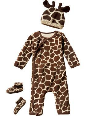 I'm definitely loving the Wild Things collection from Gap as baby Halloween costumes.  You can dress your baby up as an adorable Giggly Giraffe, Pink Piggy, or Cozy Cow on the big night, and you can still use the outfit as PJ's afterwards!