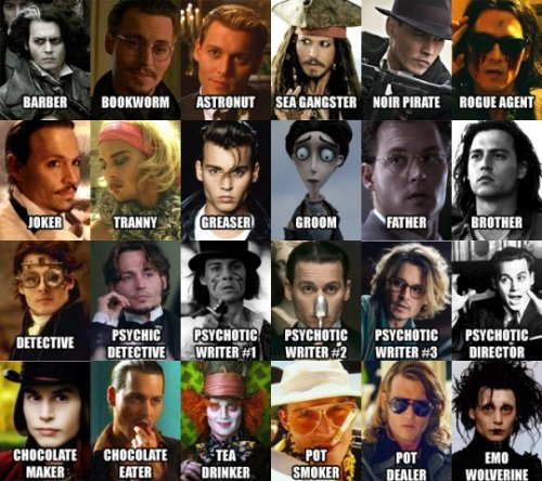 As várias faces de Johnny Depp. Via Por Arthur