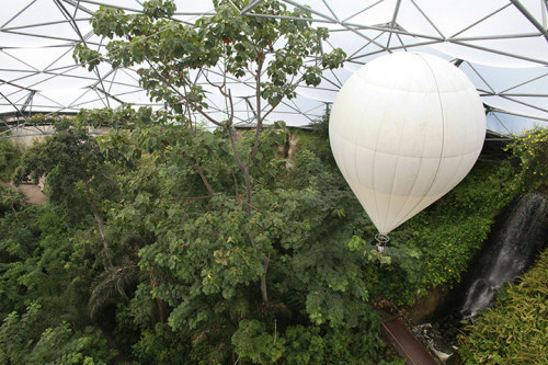 Gardening by balloon at the Eden Project.