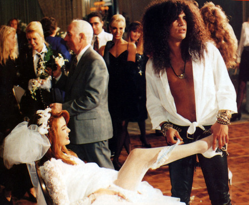 Slash & Renee Suran on their wedding day, Q Magazine, 1992.