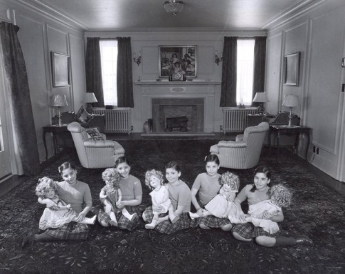 The Dionne Quintuplets, with their Shirley Temple dolls C.  1944