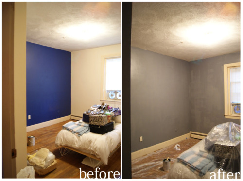 Hello, new color on the walls. Picked a cool, slate blue and (miraculously?) covered the bright cobalt blue on one wall without the need for a primer. Sometimes, I even amaze myself. Tomorrow? Antique market!