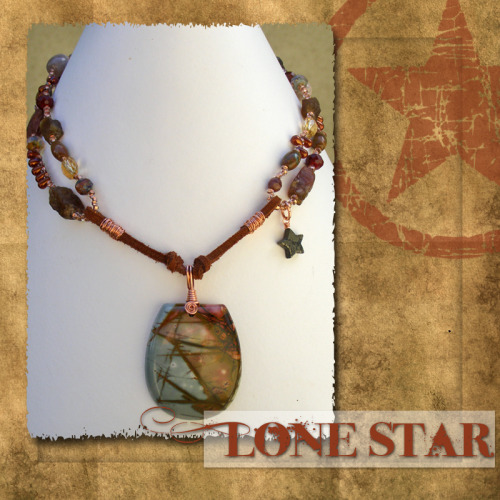 Lone Star Necklace This is a little taste of what I do. I create. My main creative outlet is making jewelry. On occasion I create other things, like assemblages, shrines, collages, found object, art…those sorts of things. Sometimes I sell them in my Art Fire shop. Other times I keep them for myself, or send them to random friends. What do you create?