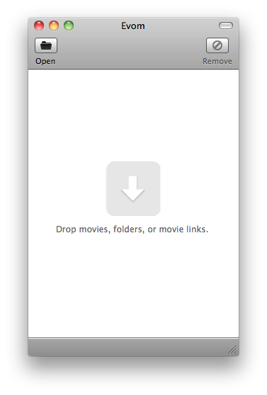 Evom, a simple drag 'n' drop video converter and downloader for the Mac.