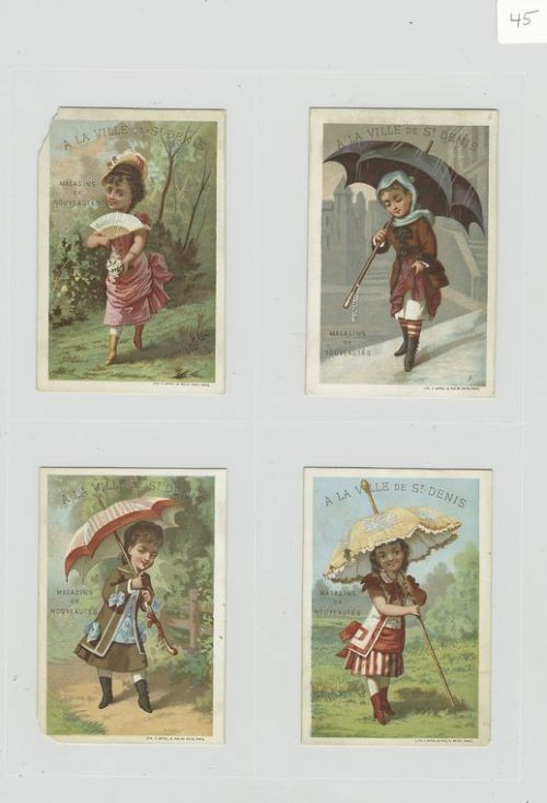 antiquememes:   Image ID: 487999 [Cards depicting women outside using parasols, fans and in the rain using an umbrella.] ([c1876-1890])