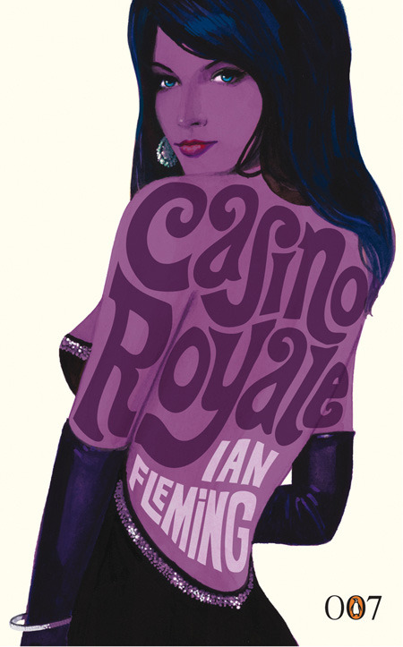 "casino royale, ian fleming: penguin. [illustrated by michael gillette] _tematic week coming ahead, starring james bond collection from penguin uk. (credits from michael gillette's quotes at the end of the week, otherwise you'll see the covers all at once ;) I got a call from Jon Grey, a designer that I knew socially from my time in London. He told me the general idea for the project – typography on naked ladies' backs, hard to say ""no"" to that! It's an iconic job, so I was very glad to be asked, quite an honour. 
