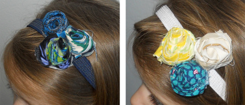 Ruby = rosettes on a stretchy, non-slip elastic headband Examples shown here. Various colors of elastics can be used with coordinating fabrics to your favorite outfit.