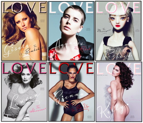 LOVE Magazine returns with 8 covers for its 4th issue. An eclectic mix  of ladies, Rosie Huntington Whiteley, Alessandra Ambrosio, Sienna  Miller, Kelly Brook, Gisele Bundchen, Agyness Deyn, Lauren Hutton and  'The Mannequin' named Buela. My favorite is the Rosie Huntington  Whiteley cover whilst joes is Alessandra Ambrosio. They were all shot by  Mert & Marcus.