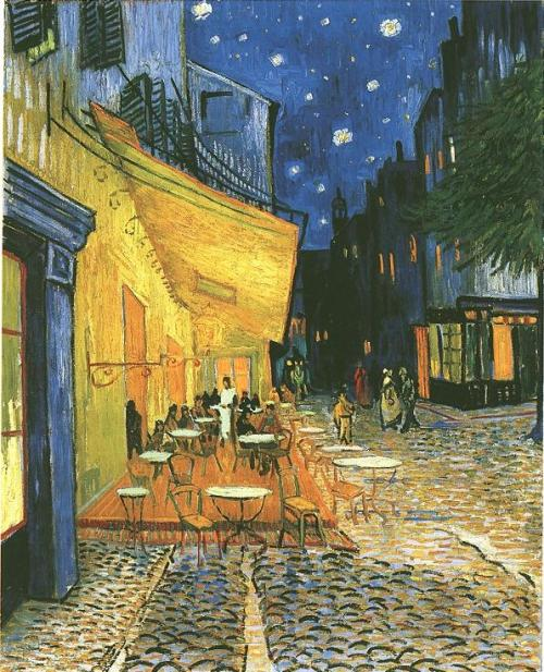 Cafe Terrace on the Place du Forum, Arles, at Night, 1888  I was interrupted precisely by the work that a new painting of the outside of a café in the evening has been giving me these past few days. On the terrace, there are little figures of people drinking. A huge yellow lantern lights the terrace, the façade, the pavement, and even projects light over the cobblestones of the street, which takes on a violet-pink tinge. The gables of the houses on a street that leads away under the blue sky studded with stars are dark blue or violet, with a green tree. Now there's a painting of night without black. With nothing but beautiful blue, violet and green, and in these surroundings the lighted square is coloured pale sulphur, lemon green. I enormously enjoy painting on the spot at night. In the past they used to draw, and paint the picture from the drawing in the daytime. But I find that it suits me to paint the thing straightaway. It's quite true that I may take a blue for a green in the dark, a blue lilac for a pink lilac, since you can't make out the nature of the tone clearly. But it's the only way of getting away from the conventional black night with a poor, pallid and whitish light, while in fact a mere candle by itself gives us the richest yellows and oranges. Letter to Willemien van Gogh. Arles, Sunday, 9 and about Friday, 14 September 1888