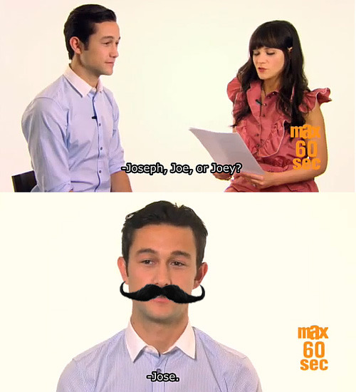 josephgordon-levitt:  I think the moustache suits him.    yes yes yes