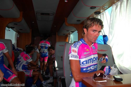 Vuelta 2009 | Stage 11 The Lampre boys in the team bus before the start of the stage.