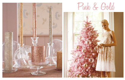 I'm still gunning for my pink tree. girlyme:  Pink and Gold Holiday (by finestationery)