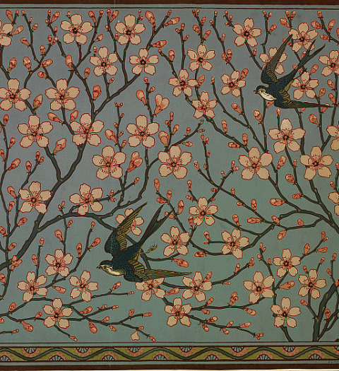 Walter Crane Almond Blossom and Swallow 1878