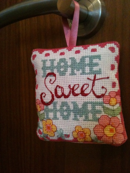 A lovely gift for a lovely friend. My first attempt at cross stitch in over 10 years.  This pattern was taken from Cross Stitcher magazine. I then backed it using the machine and stuffed it to make a small decorative hanging cushion.  I'm happy with how it turned out :)