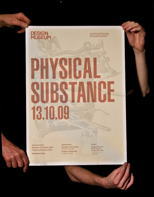 Physical  Substance: an A2 Poster for an upcoming letterpress exhibition at the  Design museum featuring 8 classic printing presses / from Kristoffer Wilson