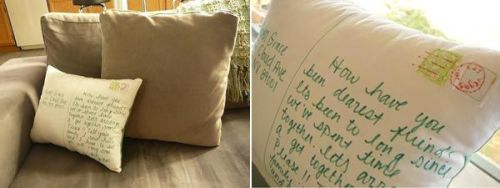 Great Gift Idea : Personalized Postcard Pillow | Freshome » Might be a good homemade gift idea for the upcoming holiday.