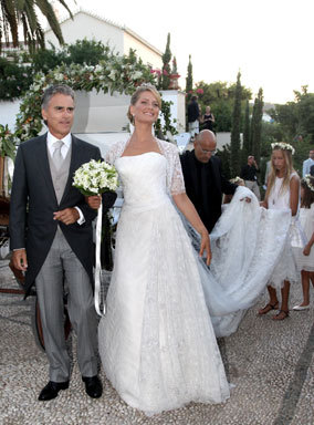 And here it is, the dress from the royal wedding in Greece today.  Ask and yee shall receive