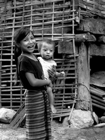 Sister and brother love, Laos
