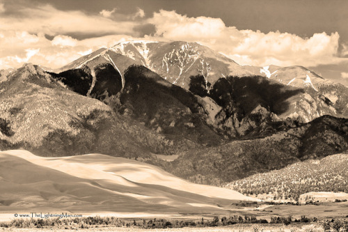 Colorado Great Sand Dunes National Park - Sepia (by Bo Insogna, TheLightningMan.com) Great Sand Dunes National Park, Colorado.