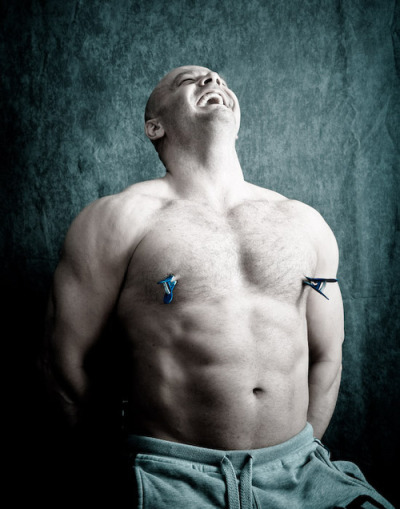 whiskeylovelace:  malesubmissionart:  A large man smiles in obvious delight, enjoying the sensation of two clothespins on his nipples. Peter suggested this awesome photograph, and wrote:  On the rare occasions that a submissive male is portrayed, he is usually depicted as skinny, young, effeminate and shy. I love this picture because it does not fit in any of those clichés.  I would add only one more cliché, perhaps the most important of all: that submission is portrayed as something undesired and undesireable. That cliché is the most insulting, dangerous, and untrue of all. Submission is freedom, and can be healing if you let it be. It's okay to want permission to be what, who, and how you are, connected with another or with yourself by a resonance of your own making. Like a tuning fork, loud and insistent but audible only once grounded with a force that you embrace. It's okay to want such permission, even if you don't need it. Because, actually, you don't need permission from anyone but yourself. -maymay