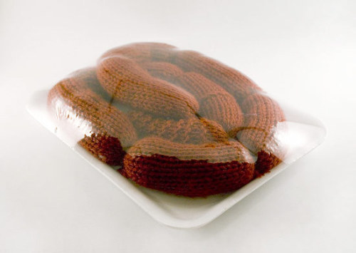 Knitted meat? seriously?  Stephanie Casper is the mastermind behind it, her Flickr is tasty.