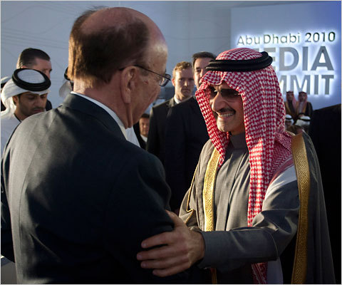"Rupert Murdoch, chillin' with his homie — a funder of the ""Ground Zero mosque,"" Prince Alwaleed Bin Talal. Read the full story over at The Lede. Fox needs to cut the crap, because this is getting seriously hateful. I mean really hateful."