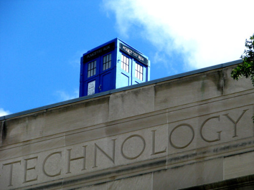 TARDIS on top of MIT…i'm reblogging this for @dr0id thedailywhat:  MIT Hack of the Day: The Massachusetts Institute of Technology is known for its elaborate pranks, but this is an especially good'um: Students awoke this morning to discover Doctor Who's spacetime-traveling police box resting atop the university's main entrance. More photos here. [bostonist.] UPDATE: The TARDIS lights up at night!