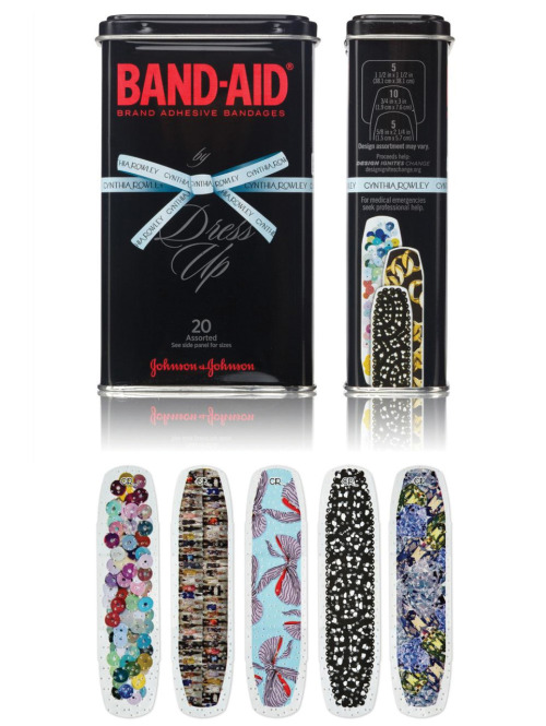 Dress-Up BAND-AIDs Fashion designer Cynthia Rowley gives BAND-AID Brand a high-end redesign. There are  20 different designs included in either a blue or black limited-edition metal tin. The tins cost $10, with a small portion of the sale going towards Design Ignites Change.