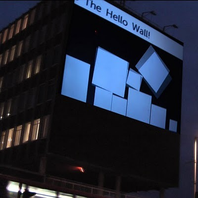 The Hello Wall -  an installation by Hellicar & Lewis that projected test and images from Twitter. via [BB-Blog] If I were to write a crime novel, I would SO use this as a plot device to help my fleeing protagonists communicate.