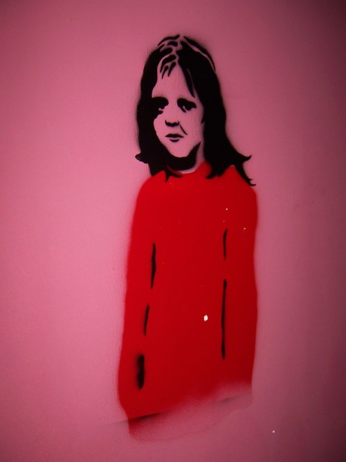 "graffiti - istanbul. stencil art on the wall of my room. this one is creepy - totally reminds me of the scary ghost twins in ""the shining""."