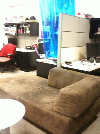 We now have a real couch in the office. The inflatable one has been placed on…