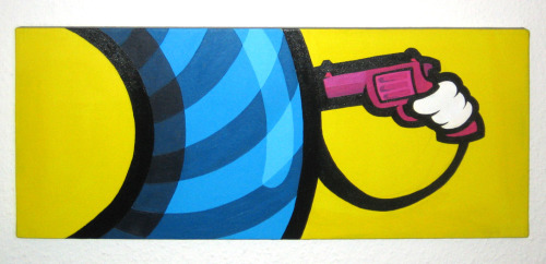 """the death of eyecandy"" acrylics on canvas - 70 x 30 cm"