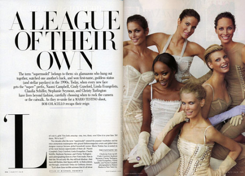 """A League of Their Own"" Vanity Fair, September 2008 photographer: Mario Testino Cindy Crawford, Stephanie Seymour, Christy Turlington, Naomi Campbell, Linda Evangelista, Claudia Schiffer supermodels, super serifs A League of Their Own 