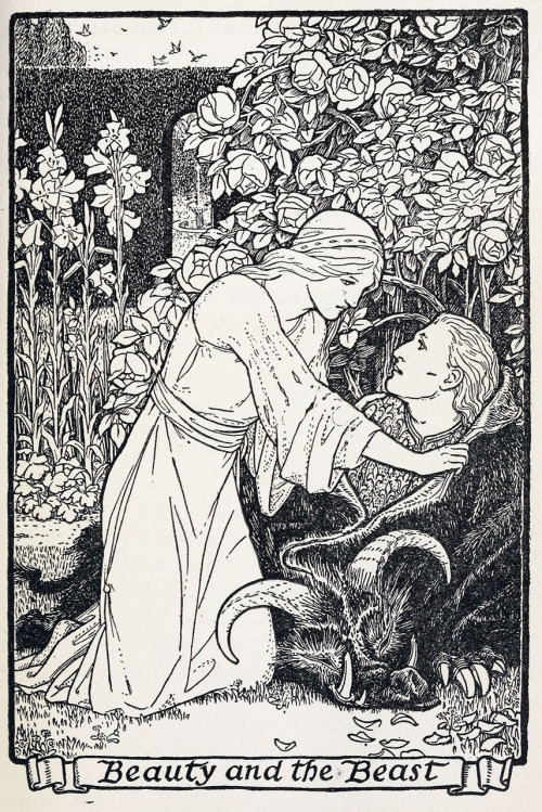moncabinetdecuriosites:  oldbookillustrations:  Beauty and the Beast. Illustration by John D. Batten to The master-maid. From Europa's fairy book, restored and retold by Joseph Jacobs, London and New York, 1916. Via archive.org.