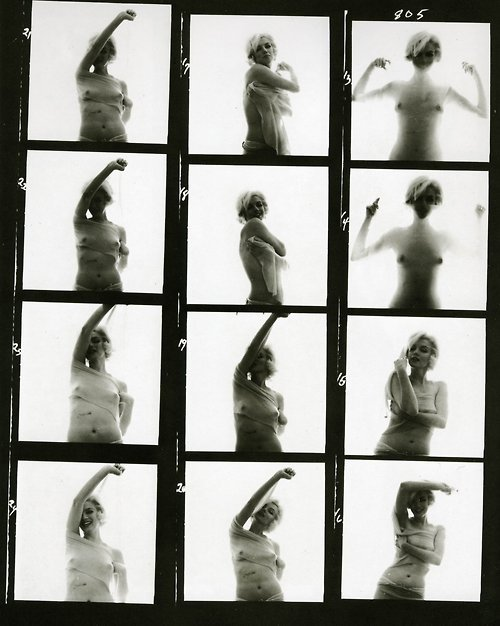 hoodoothatvoodoo:  Marilyn Monroe contact sheet By Bert Stern