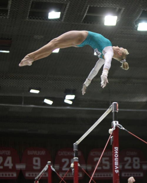 Tatiana Nabieva on bars during event finals at the 2010 Russian Cup she did her toe-on ray but still came second to mustafina (also interesting in that ig article is that mustafina's personal coach, dina kamalova, is the new woga coach). (photo by Russian Gymnastics Federation)
