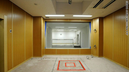 This is a view of Japan's heretofore top-secret execution chamber, where inmates are hanged.  The unprecedented media access was ordered by Justice Minister Keiko Chiba, who after witnessing the deaths of two condemned prisoners last month, said she wanted to have a national debate on capital punishment in Japan.  Such a national debate will be incredibly interesting to follow. While it's tempting to discuss how disconcerting it is that process of executing criminals is so secretive in Japan, it's important to think carefully about how much effort is undertaken in the United States to shield the death penalty from the eyes of a public who claims to vehemently support it. After all, the vast majority of executions in the U.S. are carried out deep in the heart of prisons that are far removed from population centers, in the wee hours of the morning, and in front of only a tiny number of witnesses. Though no one is saying as much, it seems clear that having a better view of the process is unlikely to bolster support for it. Just ask all of the former prison wardens who have spoken out against capital punishment in recent years [See, for example, here, here and here]. The full article on Japan is here. A more complete description of Japan's death penalty is here.