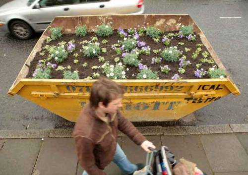 unconsumption:  Via urbangreens:    Skip conversions   via joinakibbutz: hortadoce  Another cool Oliver Bishop-Young commercial trash bin conversion is this bin-to-swimming-pool project.