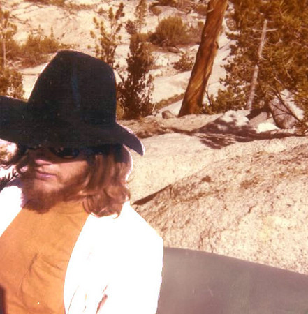 Gary wearing his 'famous' mesquitometer hat - High Sierras California, circa late 1970's