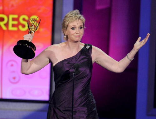 Actress Jane Lynch accepts the Outstanding Supporting Actress in a  Comedy Series award onstage at the 62nd Annual Primetime Emmy Awards  held at the Nokia Theatre L.A. Live on August 29, 2010 in Los Angeles,  California.