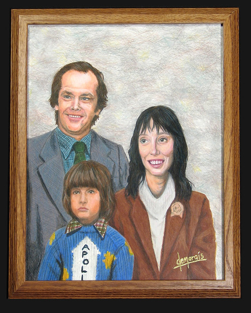 Greatest family portrait ever. A friend sent this to me and I don't know where she found it. I'd love to know who's responsible for this awesomeness. Edit:  You need to see his other paintings. There's one of the McFly family. THE MCFLY FAMILY. http://www.kirkdemarais.com/printillustration.htm