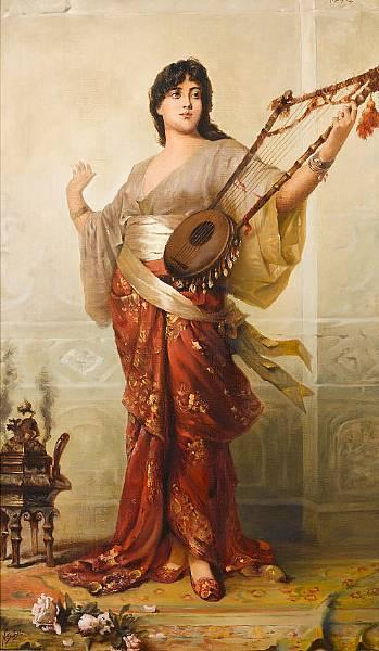 Oriental girl with Harp Nathaniel Sichel, 1843-1907. German artist. (Via sunnybrook100)