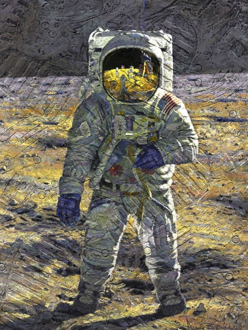 "Alan Bean is the only artist to have set foot on the moon. I love his work. This one's called ""First Men""."