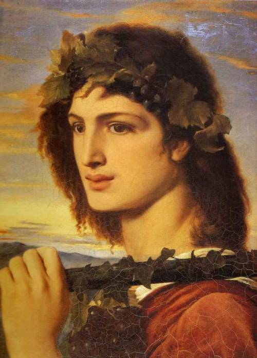 "dressrehearsalrag:  Simeon Solomon, Bacchus, 1867  ""The nightingale haunts the glades, the wine-dark ivy, dense and dark the untrodden, sacred wood of god rich with laurel and olives never touched by the sun, untouched by storms that blast from every quarter - where the reveler Dionysos strides the earth forever, where the wild nymphs are dancing round him, nymphs who nursed his life.""             —  Sophocles, Oedipus at Colonus   *fans self*  Now THIS is a Dionysos!"