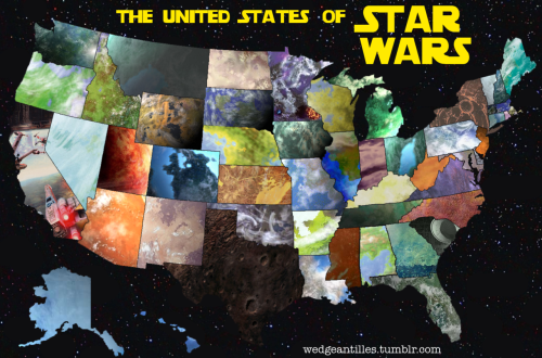 The United States of Star Wars. Here is the completed list of the planets and states. There are probably tens of planets that work for each state, I picked either the first one that I came to or the best fit.  Planets were assigned based on partial terrain, landmarks that correlate with the planet and state, types of people in the state and planet, famous landmarks, or slightly randomly selected (but loosely based on facts) from my brother and myself. It took a few days but I'm pretty satisfied with the end result. Click through to enlarge. Special thanks to those who helped: erublog, foolishpreparation, getoffmyblog, llthealbum, lucasgrieser, nowaitbutreally, sammyknapp, and zouzounaki **I could not find a photo of Adumar for California. So I took the book cover. Do not complain. There needed to be some X-Wing love on this.